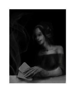 Girl play poker in dark night